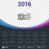 Calendar 2016 Vector Design Template. Week Starts Monday — Stock Vector