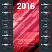 Calendar 2016 Vector Design Template. Week Starts Monday — Stock Vector