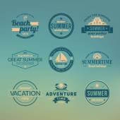 Set of summer retro design elements. Vintage ornaments and labels, tropical paradise, beach vacation, adventure and travel — Stock Vector