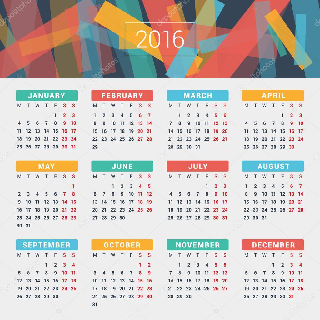 Kalender 2016 Vektor Entwurfsvorlage. Woche beginnt Montag ...