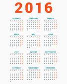 Calendario per il 2016 su priorità bassa bianca. Settimana inizia lunedì. Modello semplice di vettore — Vettoriale Stock