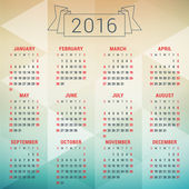 Šablona návrhu vektorové kalendáře 2016. Týden začíná neděle — Stock vektor