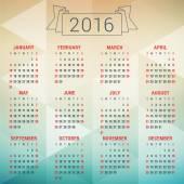 Calendar 2016 Vector Design Template. Week Starts Sunday — Stock Vector