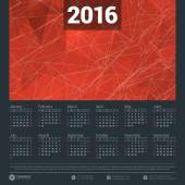 Calendar 2016 Vector Design Template. Week Starts Sunday — Stock Vector