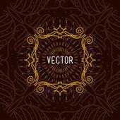 抽象的なベクトル線花飾り枠。デザイン テンプレート — ストックベクタ