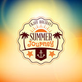 Retro Summer Holidays Hipster Label. Vector Design Elements on Coloful Summer Background — Stock Vector