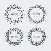 Vector Floral Frame. Mono Line Style Design Template — Stock Vector