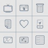 Set of Modern Vector Thin Line Icons. TV, Apps, Trash, Document, Favourite, Navigator — Stock Vector