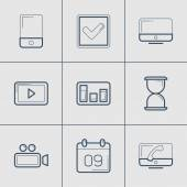 Set of Modern Vector Thin Line Icons. Mobile, Time, Video, Calendar, Multimedia, Graph — Stock Vector