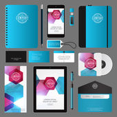 Modern Corporate Identity Template Design with Logotype and Abstract Background — Stock Vector