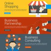 Düz tasarım konsepti. Vektör çizimleri Web Bannerlar için ayarlayın. Online alışveriş, iş ortaklığı, iş danışmanlığı — Stok Vektör