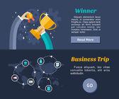 Flaches Design-Konzept für Web-Banner und Werbematerialien. Sieger, Geschäftsreise — Stockvektor