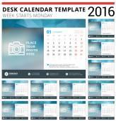 Desk Calendar 2016 Vector Design Template. Set of 12 Months. Week Starts Monday — Stock Vector