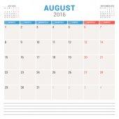 Calendar Planner 2016. Vector Flat Design Template. August. Week Starts Monday — Stock Vector