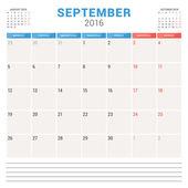 Calendar Planner 2016. Vector Flat Design Template. September. Week Starts Monday — Stock Vector