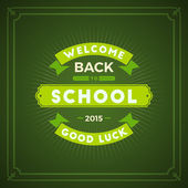 Back to School Typographic Vintage Design. Vector Background with Badge — Stock Vector