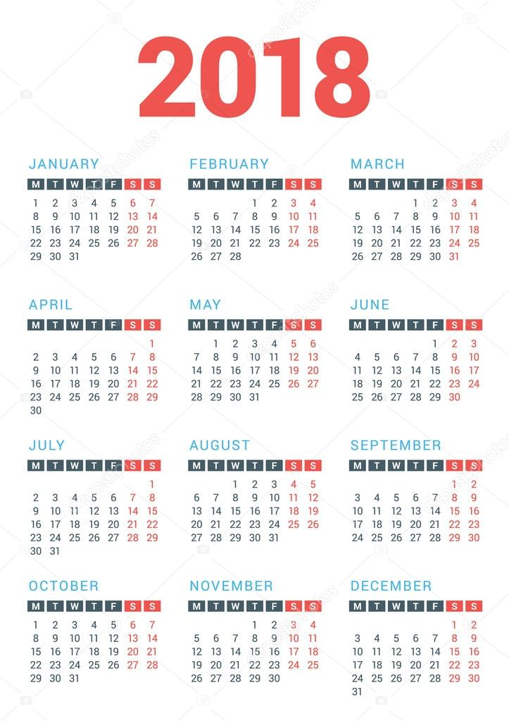 Calendar for 2018 Year on White Background. Week Starts Monday. Vector ...