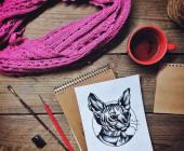 绘图和杯茶 — 图库照片