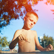 Boy with sketch pen drawing — Stock Photo #78903866