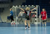 Unidentified players in action at Handball match — Stock Photo