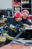 Fire and Rescue Emergency Units at car accident — Stock Photo