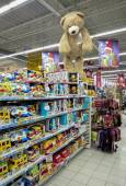 Toy display on the shelf at Auchan store — Zdjęcie stockowe
