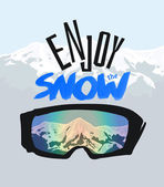 Snowboarding goggles and positive lettering. Enjoy the snow. — Cтоковый вектор