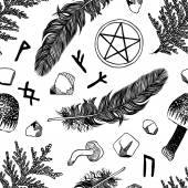 Vector seamless pattern with ritual things, black contour — Stockvektor