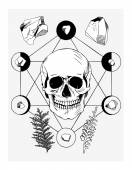 Vector illustration with skull and ritual things, black contour — Vector de stock