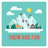 Ski resort in mountains, winter time, snow and fun — Stock Vector