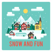 Town in mountains, winter time, snow and fun — Cтоковый вектор