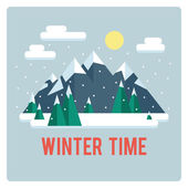 Mountains landscape, winter time, day — Stock Vector