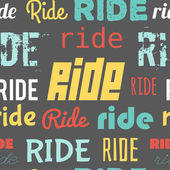 Seamless vector pattern with word RIDE, flat design — Vecteur