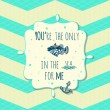 Vector card with cute fish and anchor in text box on stylish seamless pattern. — Vector de stock  #54537085