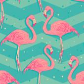 Seamless pattern with flamingo birds — Stock Vector