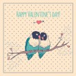 Happy Valentines day card with love birds and background pattern, heart — Stock Vector #61977811