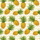 Hand drawn seamless pattern with pineapple in vector — Stock vektor