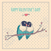 Happy Valentines day card with love birds and background pattern, heart — Stockvector