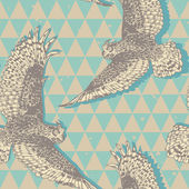 Seamless pattern with realistic flying owls in vector — Stock Vector
