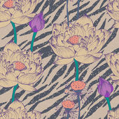 Seamless floral pattern on zebra background — Stockvektor