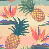 Tropical exotic flowers and pineapple seamless pattern — Stock Vector