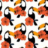 Hand drawn seamless pattern with toucans in vector — Stockvektor