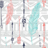 Seamless Aztec Tribal pattern with feather and arrows in vector — Διανυσματικό Αρχείο