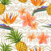 Tropical exotic flowers and pineapple on seamless tribal background in vector — Wektor stockowy