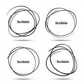 Set of Hand Drawn Scribble Circles — Cтоковый вектор