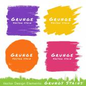 Set of Hand Drawn Flat Grunge Stains on White Background. — Stock Vector