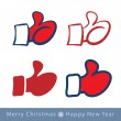 Set of red mitten thumb up icons, vector illustration — Stock Vector #54174399