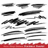 Scribble Smears Hand Drawn in Pencil — Vector de stock