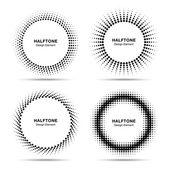 Set of Black Abstract Halftone Circles Logo — Vetorial Stock