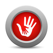 Caring hands red button — Vetorial Stock